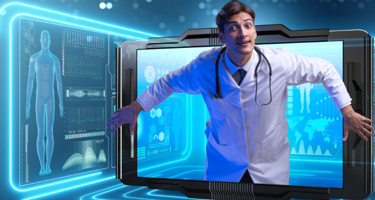 Telemedicine concept with doctor and smartphone