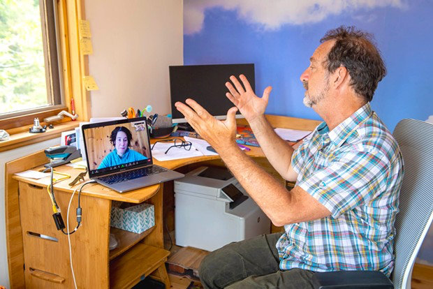 Michael Fratkin and Emily Trutt video conferencing
